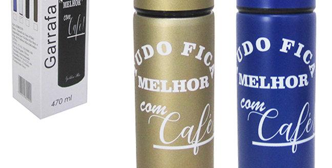 GARRAFA TERMICA DE INOX FRASES CAFE COM COADOR 450ML NA CAIXA