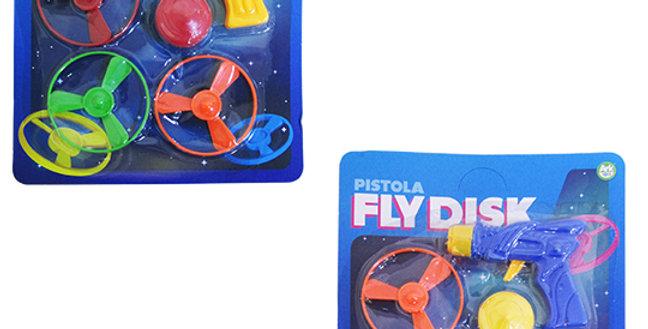 PISTOLA LANCA DISCO C/3 DISCOS + PIAO COLORS FLY DISK NA CARTELA AKT3253
