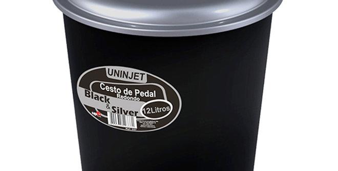 LIXEIRA COM PEDAL REDONDA DE PLASTICO COM TAMPA BLACK SILVER 12L 30X27CM DE Ø