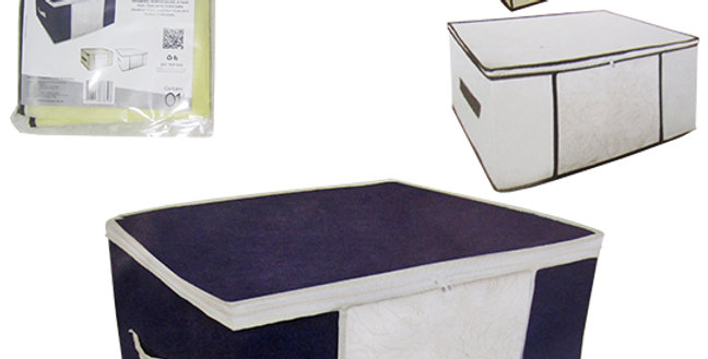CAIXA ORGANIZADOR DE PVC / TNT DOBRAVEL MULTIUSO COM VISOR + ALCA E ZIPER 45X45X