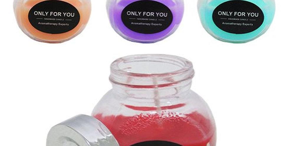 Vela Aromatica para Ambientes Pote de Vidro com Tampa de Plastico Colors 5,5x5,5
