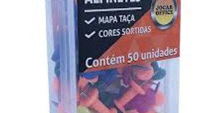 ALFINETE MAPA COLORIDO CABECA TACA CX.PLAST. C/50 UND JOCAR OFFICE