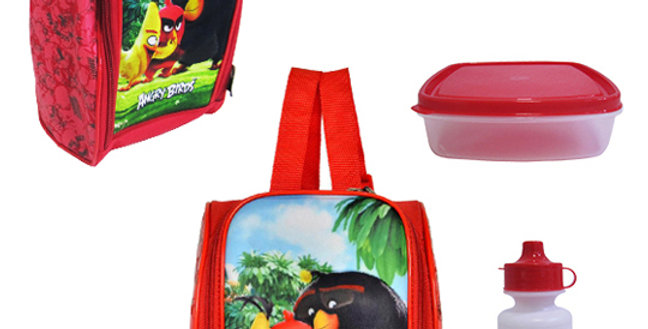 """LANCHEIRA INF. TERMICA UNISSEX 3D C/POTE + GARRAFA/SQUEEZE ANGRY BIRDS 11"""""""