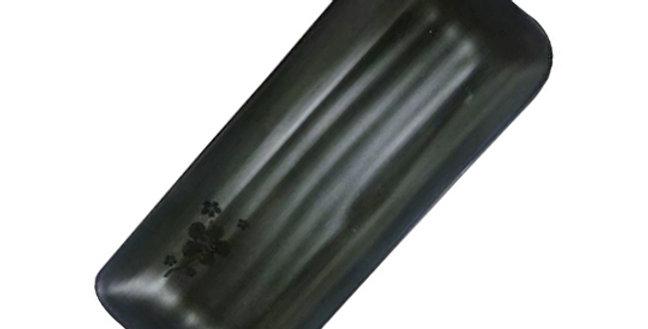 TRAVESSA DE MELAMINA JAPONESA BLACK KANPAI RETANGULAR COM BORDA 27,5X11,5C