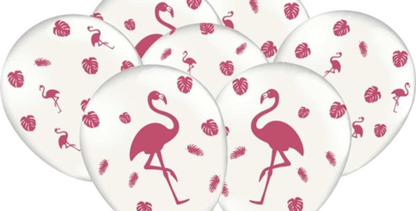 BALAO DECORADO FLAMINGOS 10X25 FEST COLOR