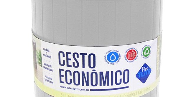 LIXEIRA REDONDA DE PLASTICO BRANCA 5L