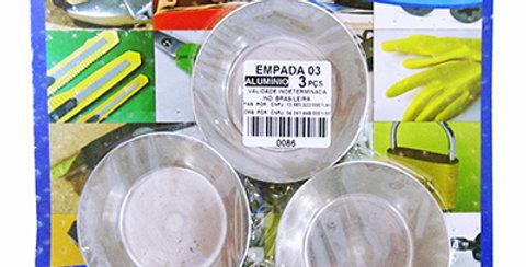 FORMA DE ALUMINIO P/EMPADA N 03 KIT C/3PCS 2X6,5CM0 NA CARTELA 0086 CAMP HOBBY
