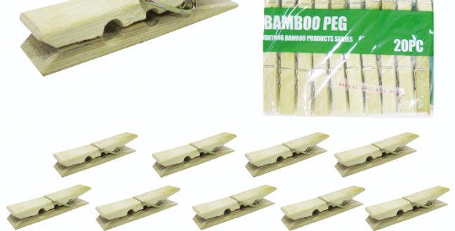 PRENDEDOR DE ROUPA DE BAMBU COM 20 UNIDADES 6X1CM NA SOLAPA