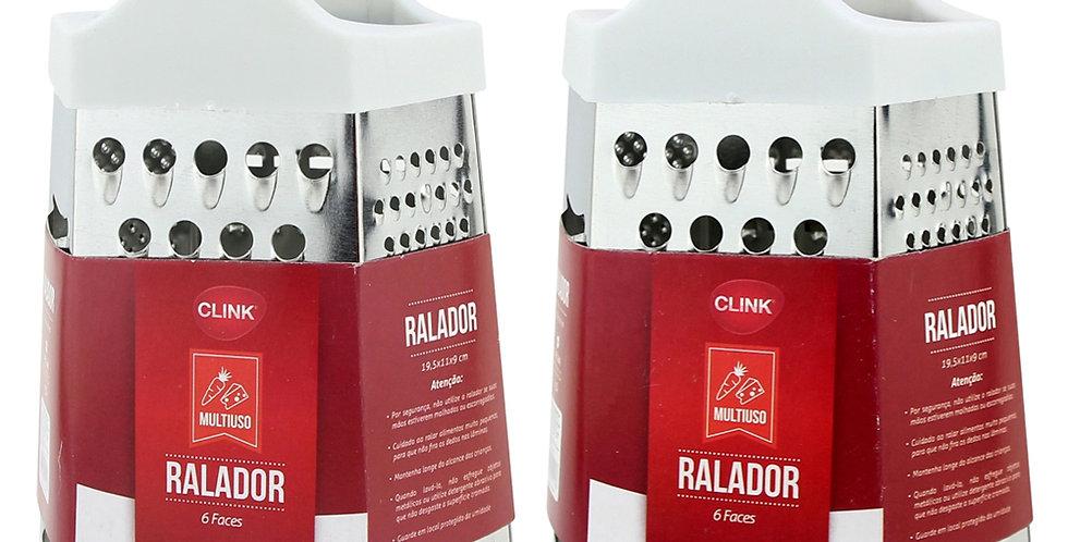 RALADOR DE INOX 6 FACES COM PEGADOR DE PLASTICO COLORS 8 CLINK