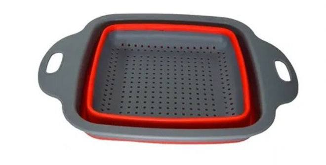 ESCORREDOR DE SILICONE QUADRADO MULTIUSO RETRATIL C/ ALCA COLORS 24X18X7,5CM