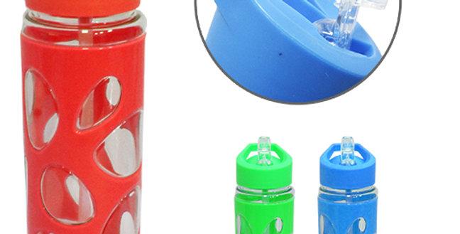 GARRAFA / SQUEEZE DE PLASTICO PET PEDRAS TRANSCOLOR COM TAMPA FLIP TOP + ALCA 80
