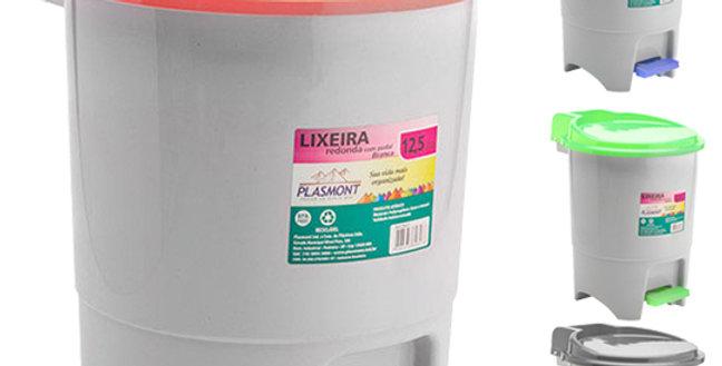 LIXEIRA COM PEDAL REDONDA DE PLASTICO COM TAMPA COLORS 12,5L