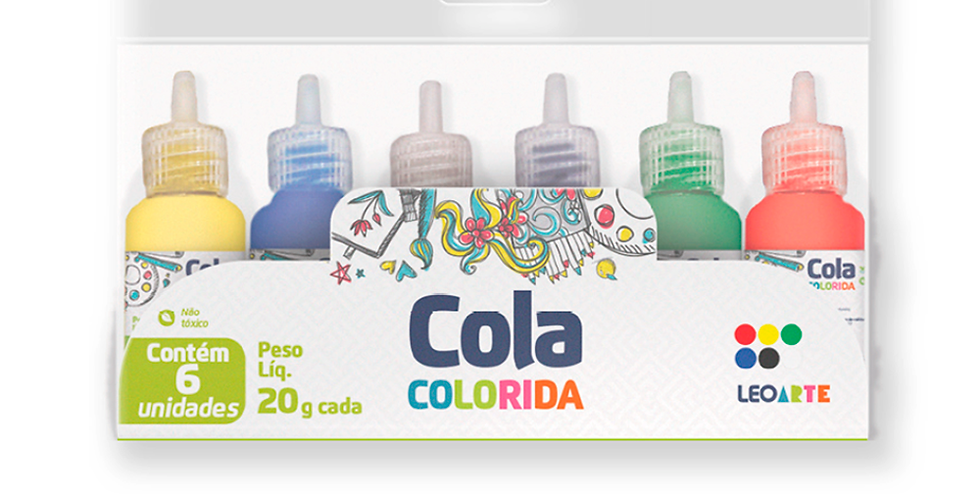 COLA COLORIDA ESCOLAR 25GRAMAS 6CORES LEO