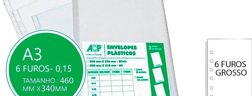 ENV. PLASTICO 0.15 6 FUROS A3 ACP