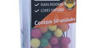 ALFINETE MAPA COLORIDO CABECA REDONDA CAIXA PLASTICA C/50 UND JOCAR OFFICE
