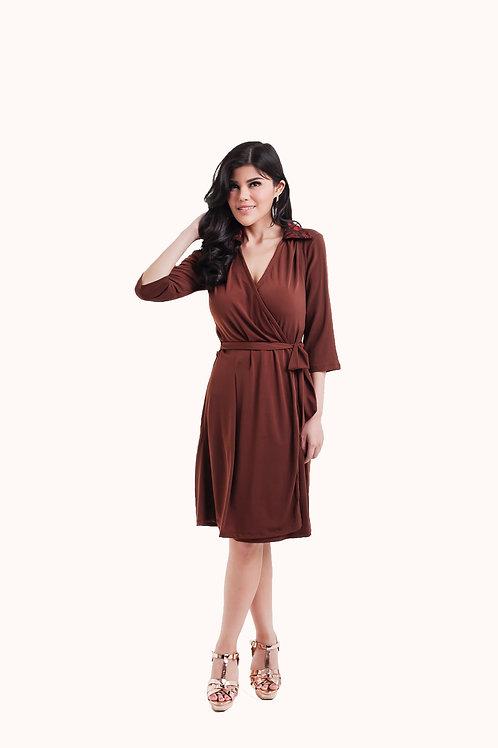 Diane Wrap Dress Brown