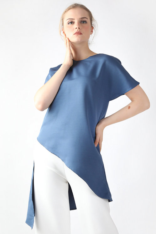 Sahara Asymmetrical Blouse Dusty Blue