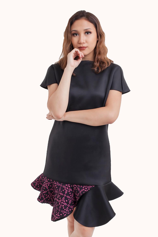 Ruffle Dress with Modern Batik