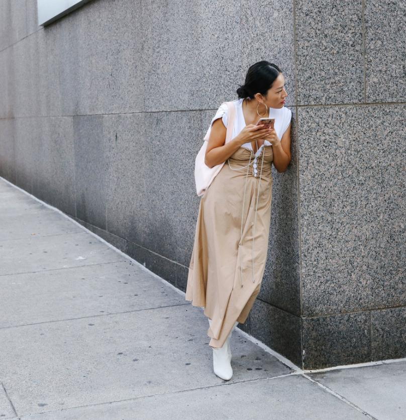 Two tone dress street style New York Fashion Week