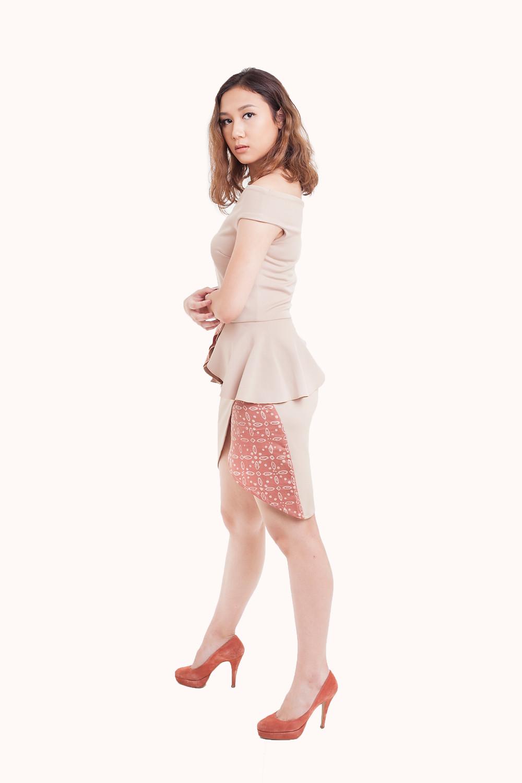 Minitik Off Shoulder Dress with Batik