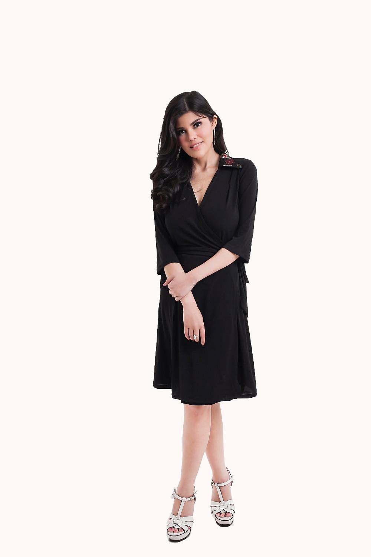 Wrap Dress with Modern Batik