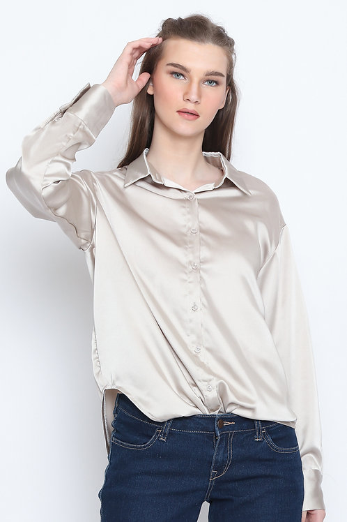 Tiffany Oversized Loose Casual Office Shirt Champagne
