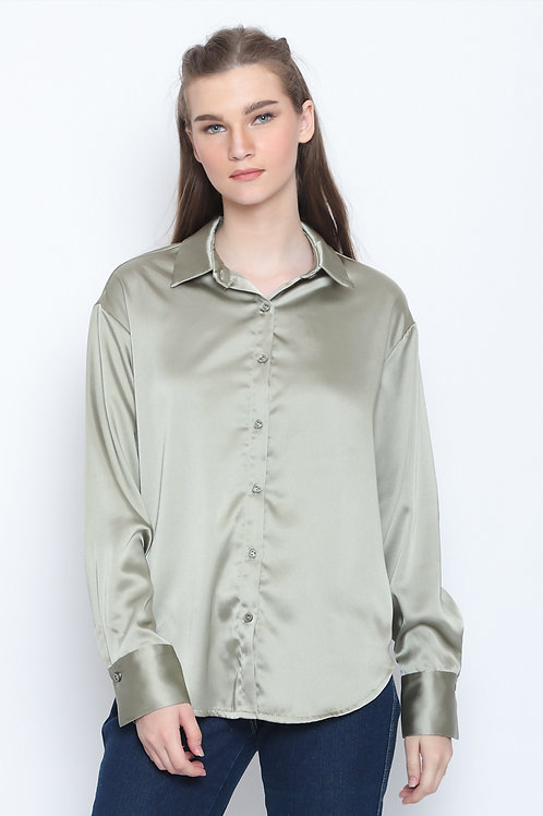 Tiffany Oversized Loose Casual Office Shirt Light Green