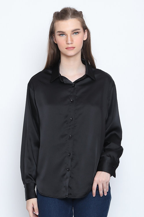 Tiffany Oversized Loose Casual Office Shirt Black