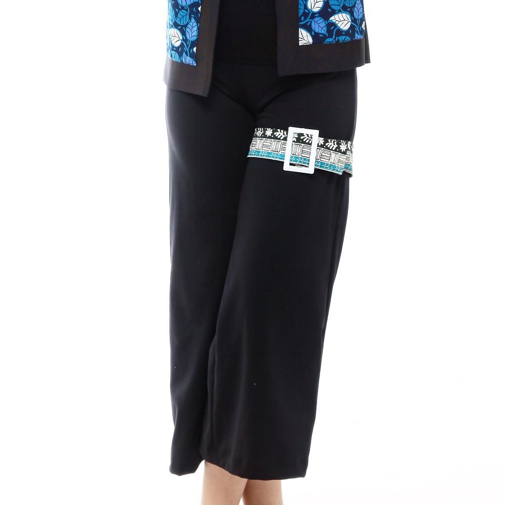 Celana kulot hitam batik