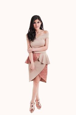Off Shoulder Dress with Batik