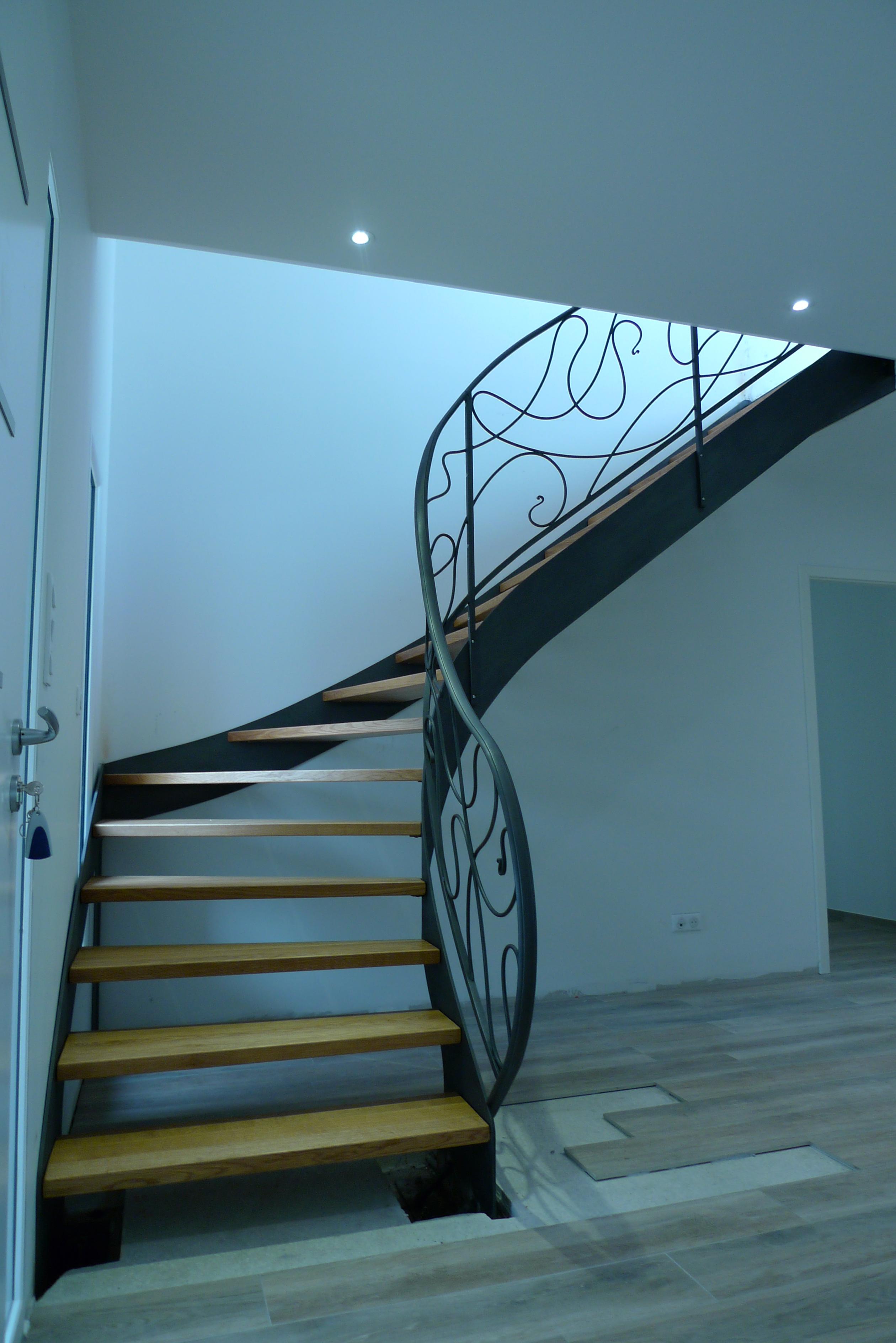 escalier quart-tournant cintré