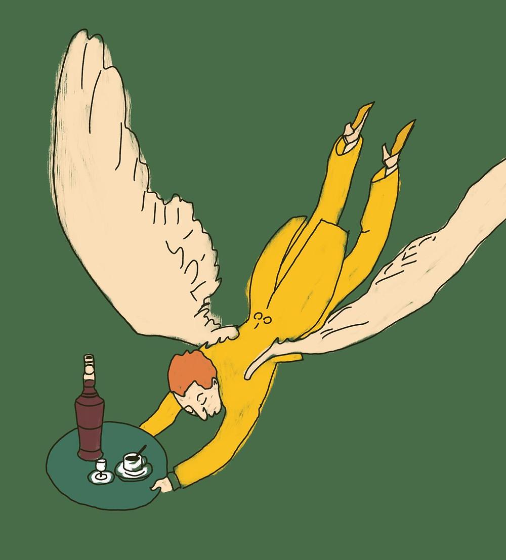 angelo che porta liquore al tabacco, perique liqueur de tabac, alcol e sigarette
