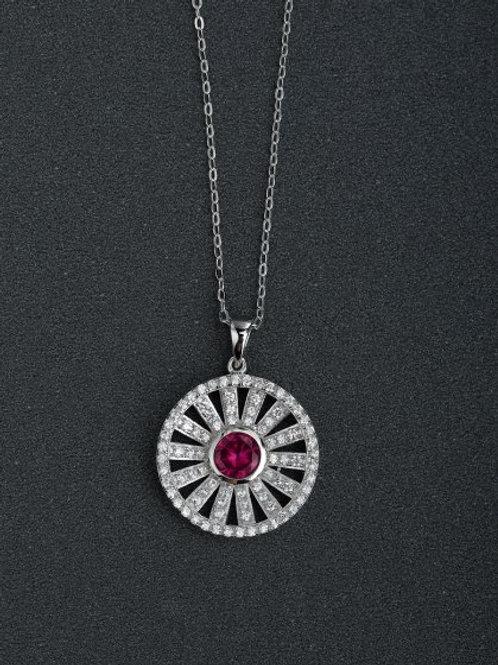 Silver 925 Micro inlay Zircon round sunflower Pendant and 18″ chain
