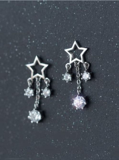 925 Silver Star Zircon Tassel Short drop stud earrings