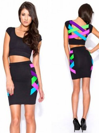 London Designer Matching Neon Top & Skirt Perfect For Clubbing & Festivals