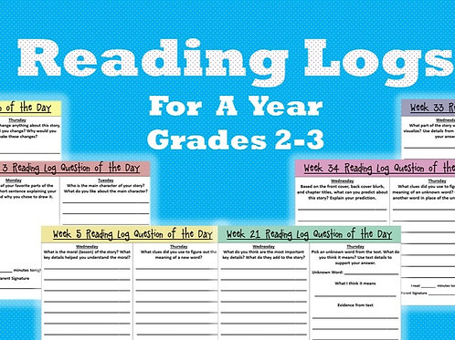 Reading Log For A Year Grades 2-3