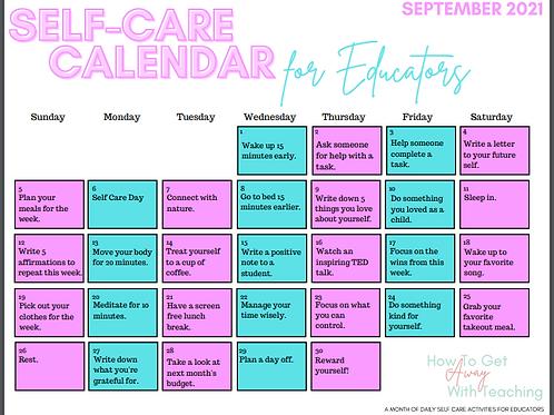 September 2021 Self Care Calendar