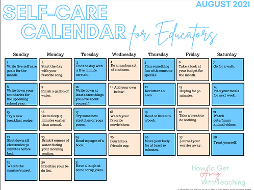 August Self Care Calendar