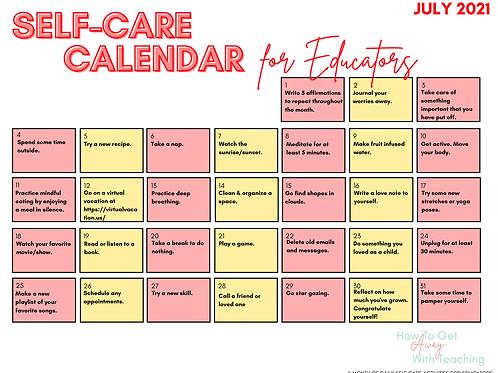 Educator Self Care Calendar July2021