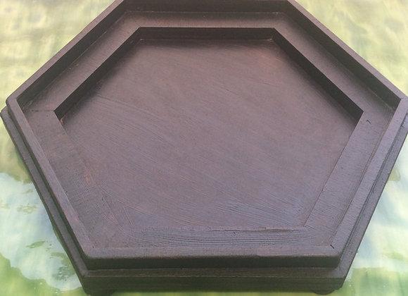 Hexagon wooden base for Hexagon Glass Terrarium planter