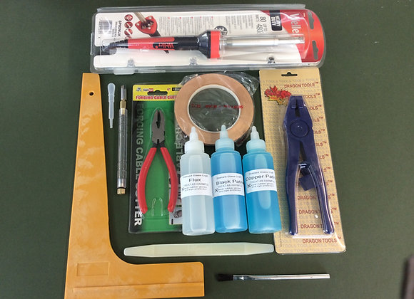 Stained glass tool kit with iron