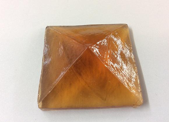 Amber 40mm x 40mm Cast glass jewel