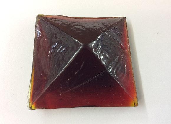 Red 40mm x 40mm Cast glass jewel