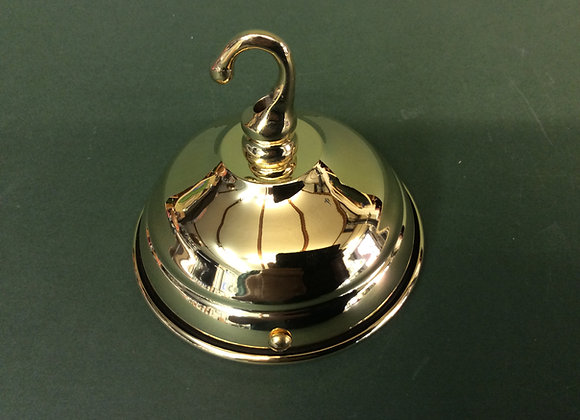 Ceiling plate with hook polished brass finish