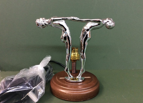 Two Dancer Figures Base Chrome Polished and Lamp base