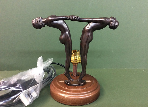 Two Dancer Figures and Mahogany Base