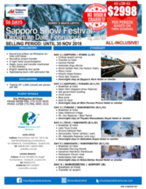 6D SAPPORO SNOW FESTIVAL - ALL IN (Feb 6-11, 2019)