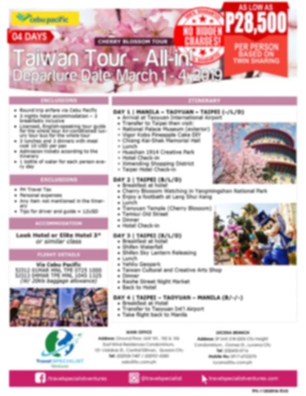 4D TAIWAN TOUR - ALL IN (Mar 1-4, 2019)