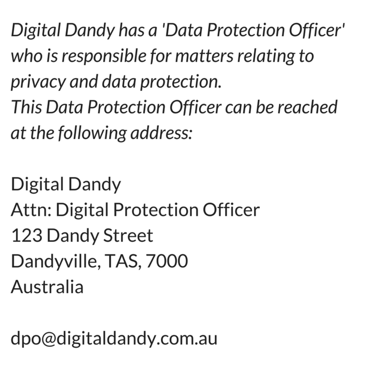 Sample information about how an individual can contact the DPO (Data Protection Officer)
