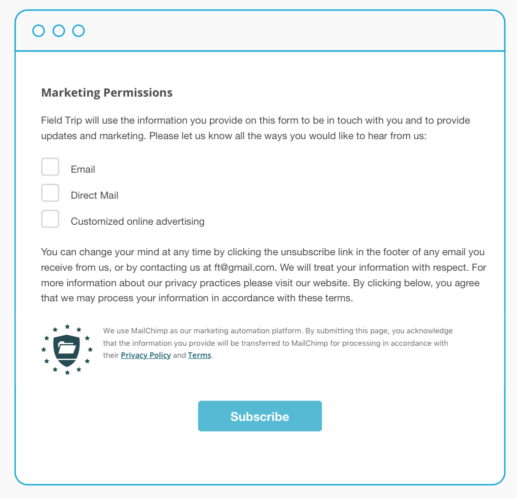 A sample email marketing permission consent form